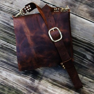Handmade Rustic Leather Cross Body Hand Stitched Leather Messenger Bag With Brass Hardware Satchel Possible Bag by Bret Cali Shoulder Bag