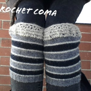 Boot Cuffs, Boot Toppers, Boot Socks, Crochet Bootcuffs,  Upcycled Wool,  Boot Socks, Striped Legwarmers, Gray & Black