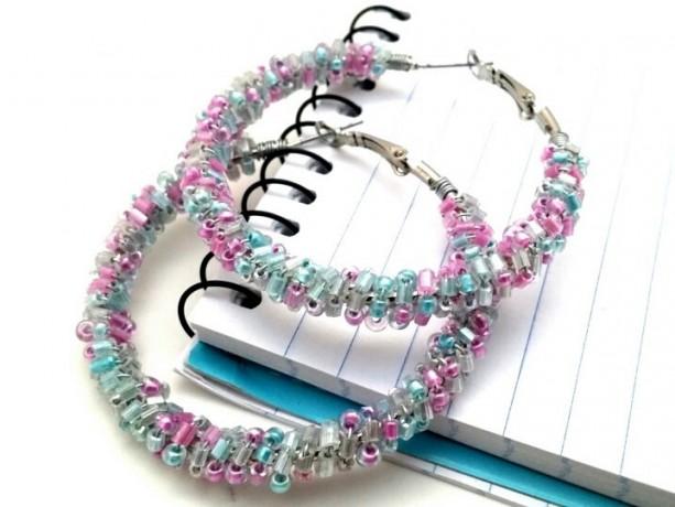 Pink Blue Bead Hoops Cotton Candy Earrings Pastel Wire Wrap Boho