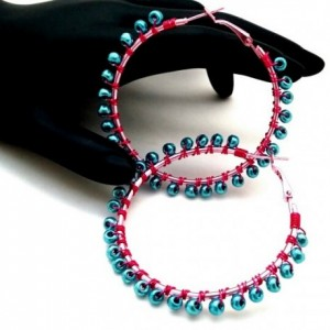 Teal Pink Hoops, Pink Hoop Earrings, Teal Hoop Earrings, Pink Wire Wrap Hoop, Teal Wire Wrap Hoops, Simple Boho Earrings, Seed Bead Hoops