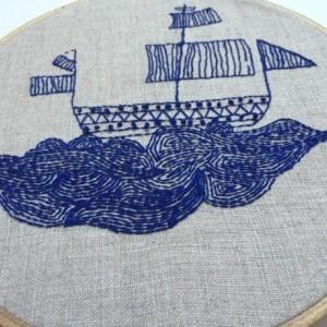 Waves Upon Waves // Nautical Hand Embroidery // Ship Hoop Art