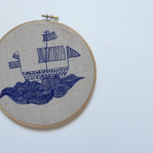 Waves Upon Waves // Nautical Hand Embroidery // Ship Hoop Art