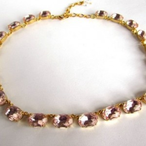 Blush Pink Statement Necklace. Georgian Collet Necklace, Pink Pas ...