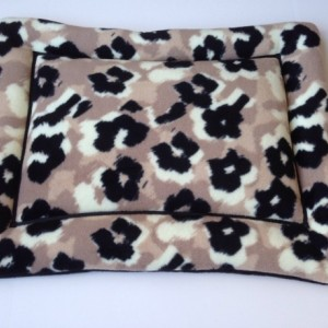 Black and Tan Floral Fleece Dog Cat Bed Pad Cat Mat
