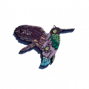 Hummingbird Mosaic Art Wall Hanging. Mixed Media Nature Artwork as Whimsical Home Decor. Great gift for Mom or Birdwatcher / Bird Lover.