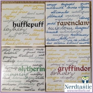 HARRY POTTER Hogwarts House Characteristics & Names Coasters (Set of 4)