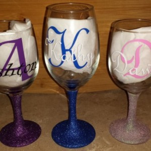 Personalized Wine Glasses - Glittered Stem Wine Glasses - Gift - Custom Wine Glass - Party - Bridesmaid - Wedding - 21st Birthday - Glass