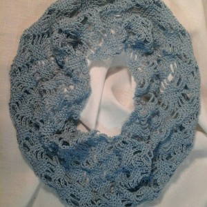 Lacey Lattice Cowl in Delft Blue