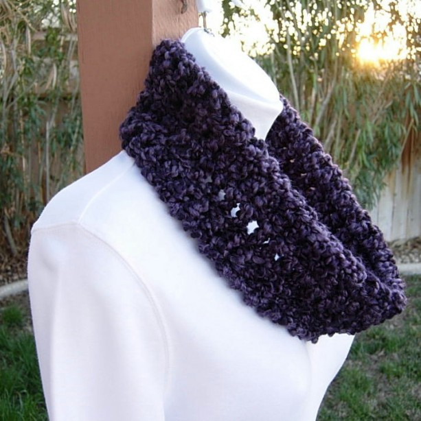 Small Purple COWL SCARF Dark Purple Black, Summer Spring Infinity Loop Handmade Crochet Knit Soft Lightweight Neck Warmer..Ready to Ship in 3 Days