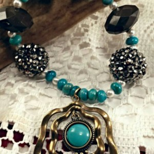 Turquoise flower pendant necklace-boho bohemian earthy