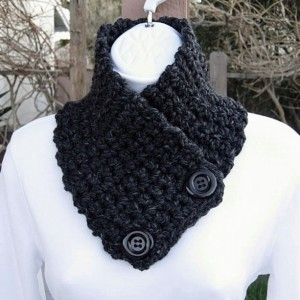 NECK WARMER SCARF Buttoned Cowl Black Dark Gray Grey Charcoal Wool Blend, Solid Black Buttons, Thick Handmade Crochet Knit..Ready to Ship in 2 Days