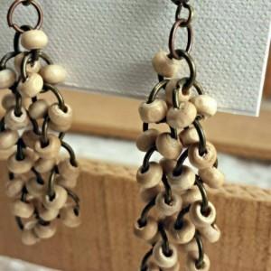 Wood fringe earrings - dangle boho earrings - long wooden boho earrings