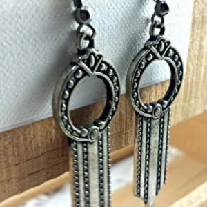 Boho long arrow silver metal earrings