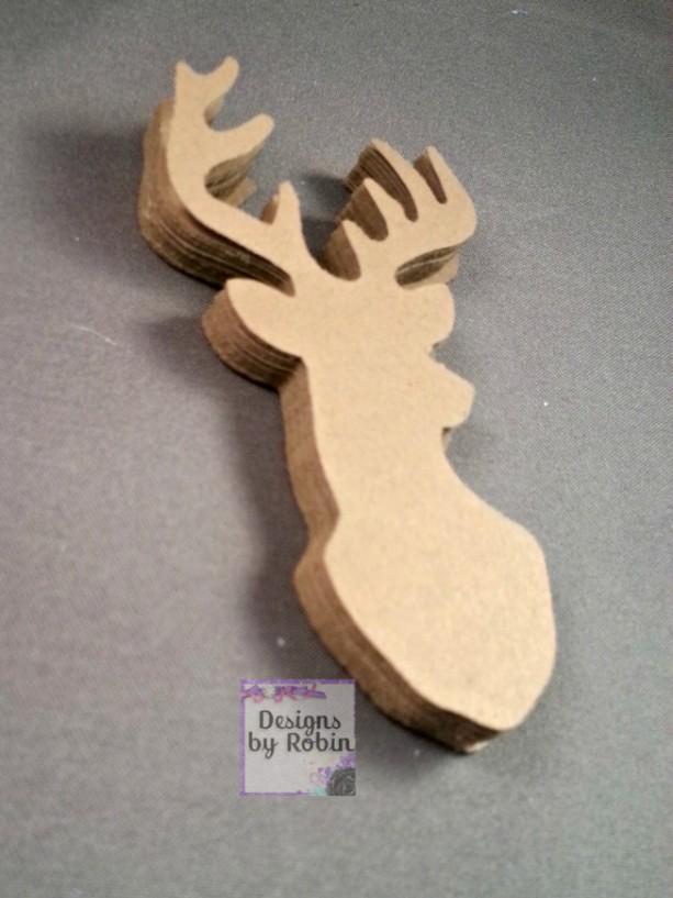 100   Deer diecuts - diecut mounted deer head - buck die cuts - wilderness diecuts-wedding - country - outdoor dies