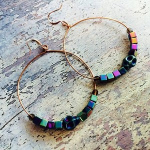 Rose gold hoop earrings hematite skulls and Czech glass beads, sugar skull jewelry, jewellery for her, punk skulls retro modern colorful