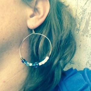 Rose gold hoop earrings hematite skulls and Czech glass beads, sugar skull jewelry, jewellery for her, punk skulls retro modern colorful