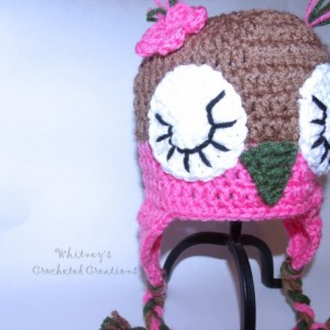 crochet owl hat, animal hat, sleeping owl, handmade, photo prop, beanie, earflap, hat, baby shower gift, new baby, gift, flower