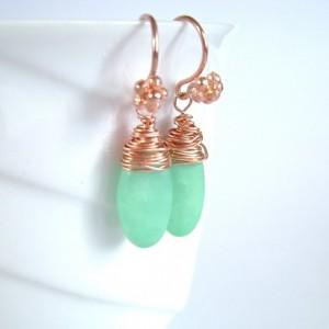 Green Hemimorphite Earrings, Copper, Wire Wrapped, Drop Earrings, Spring Green, Boho Jewelry, Gemstone Earrings, Electric, 897