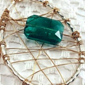 Wire wrapped pendant- boho gypsy hippie
