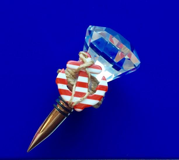 Nautical Anchor Diamond Door Knob Wine Stopper Beach Wine Stoppe