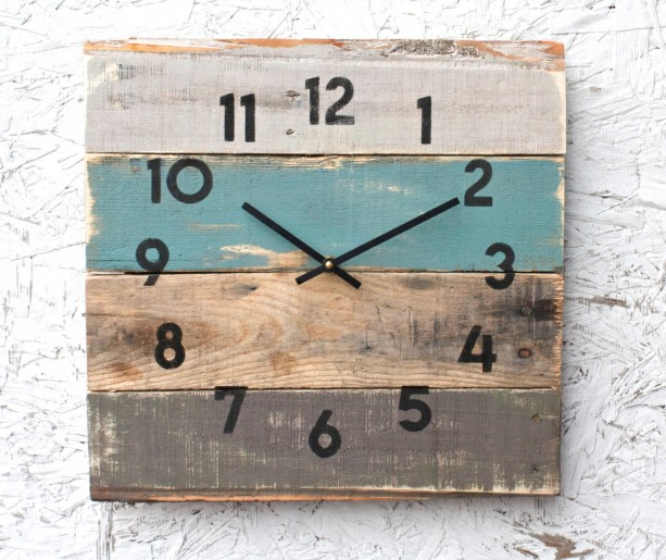 Rustic Beach House Decor Coastal Theme Reclaimed Wood Clock Soft Teal