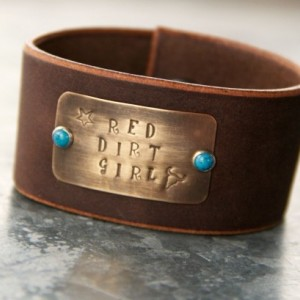 Rustic Western Cuff - Red Dirt Girl, Brown Leather, Brass, Turquoise, Texas