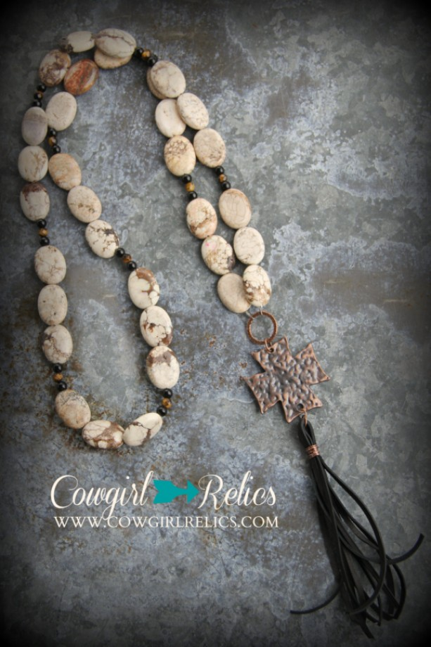 Boho-Style Western Necklace-White Magnesite, Copper Cross, Black Leather Tassel