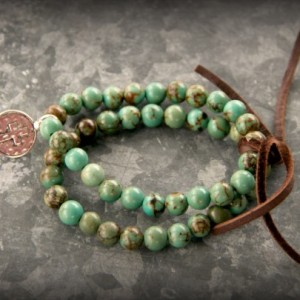 Rustic Western Stretch Bracelet-Turquoise, Leather, Cross