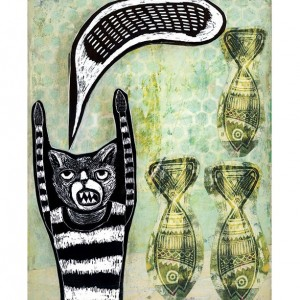Poisson Chanson- Cat and Fish Mixed Media Illustration Print