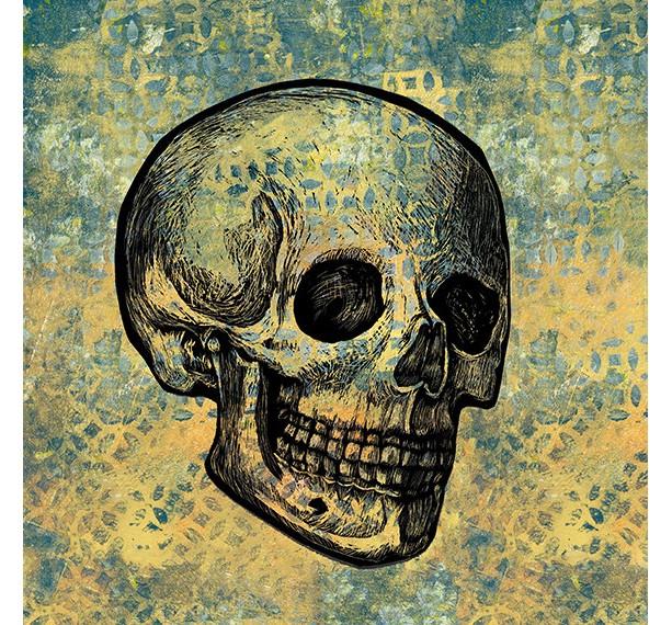 Calavera- Skull on yellow and gray  Mixed Media Illustration Print