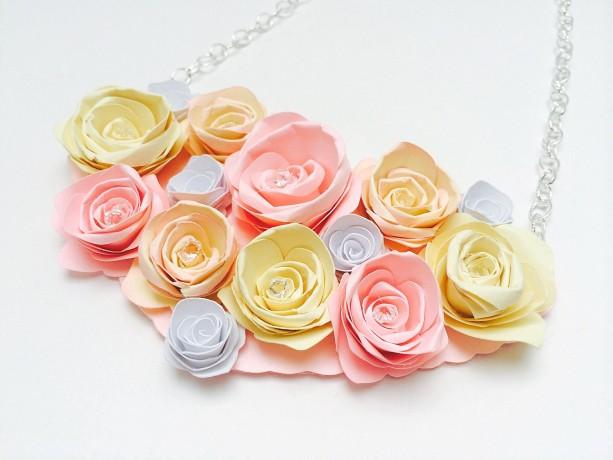 Paper rose bib necklace spring necklace spring jewelry unique paper rose bib necklace spring necklace spring jewelry unique jewelry paper jewelry mightylinksfo
