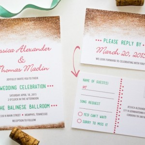 Modern Wedding Invitation and RSVP Postcard- Custom Design- Printable or Printed- Digital Gold Glitter - Pink and Mint - Unique Design