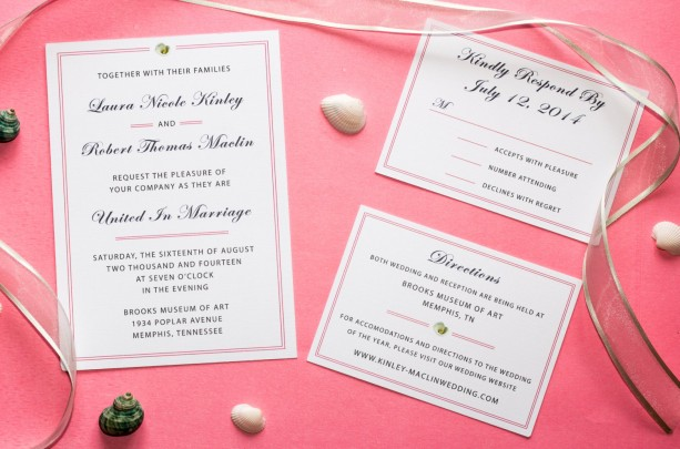 ... Pretty In Pink   Traditional Wedding Invitation, RSVP Card + Directions  / Accommodations Card ...
