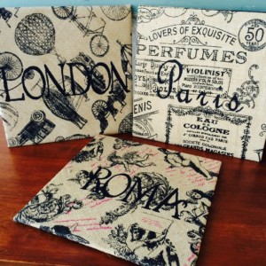 London Paris Rome Burlap Pictures - European Cities, Burlap Art // ready to hang, FREE SHIPPING!