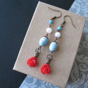 Red Rose Dangle Earrings Aquamarine Blue Boho Beaded Jewelry For Women Flower Earrings
