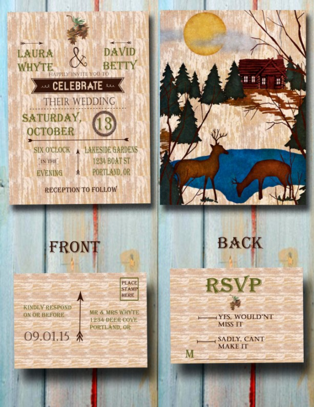 Custom Watercolor Woodland Wedding Invitation - Wedding Invitation Set