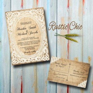 Custom Country Wedding Invitations with RSVP - Rustic Chic Wedding Invitations
