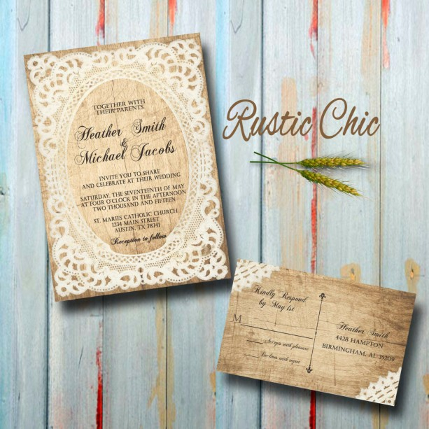 Custom Country Wedding Invitations With RSVP   Rustic Chic Wedding  Invitations
