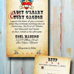 Custom Rockabilly Tattoo Wedding Invitation - Wedding Invitation Set