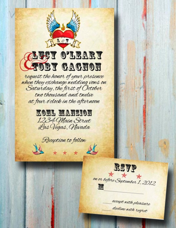 Custom Rockabilly Tattoo Wedding Invitation   Wedding Invitation Set