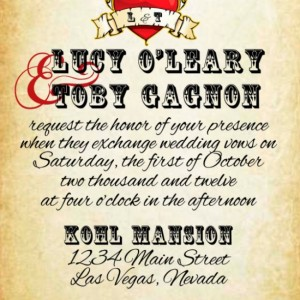 Custom Rockabilly Tattoo Wedding Invitation - Wedding Invitation Set