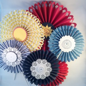 Rosettes - handmade set of 6 - red, blue and yellow