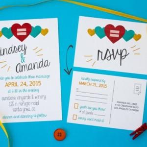 Love is Love - Same Sex Wedding Invitation and RSVP Postcard - Custom Design - Printable or Printed - Hearts - Gay Pride - Marriage Equality