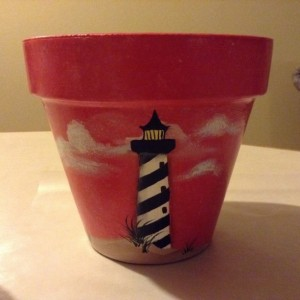 Lighthouse clay flower pot, hand painted