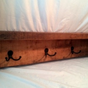 "36"" Rustic Wall Mounted Shelf Coat rack with Natural Edge"