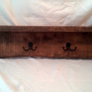 "30"" Rustic Wall Mounted Shelf Coat rack with Natural Edge"