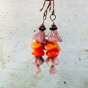 Silk Road Floral dangle earrings in purple orange on rose gold ear wires, floral dangle, ZCzech Glass, contrasting colors, gift for her