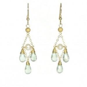 Green Amethyst Earrings,  Akoya Pearl Earrings, Pearl Earrings, Bridal Earrings, Bridesmaid Earrings, Chandelier Earrings