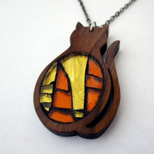 Kitty Cat Necklace - Walnut Wood and Glass Mosaic Necklace, Wood Jewelry, Stained glass mosaic Necklace, Deep Orange Red Wood, Yellow Orange