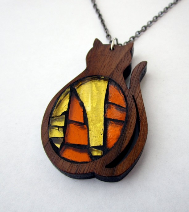Kitty Cat Necklace - Walnut Wood and Glass Mosaic Necklace, Wood Jewelry, Stained glass mosaic Necklace, Deep Orange Red Wood, Yellow Orange